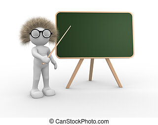 Teacher - 3d people - human character pointing on backboard...