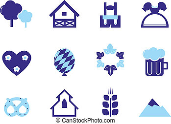 Octoberfest & Germany icons and design elements. Vector icon set.