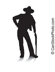 Man and Gun - An abstract vector illustration of a man, who...