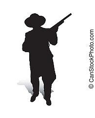 Man and Gun_2 - An abstract vector illustration of a man,...
