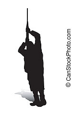 Man and Gun_3 - An abstract vector illustration of a man,...