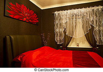 Romantic red - brown bedroom