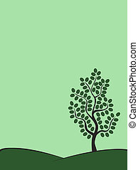green tree on a hill in summer
