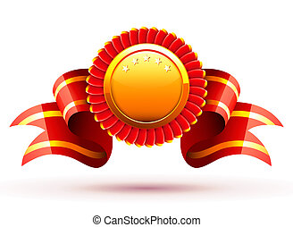 red badge - illustration of red badge and ribbon