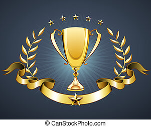 golden trophy - illustration of golden trophy with laurel...