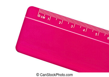 Pink ruler isolated on white background