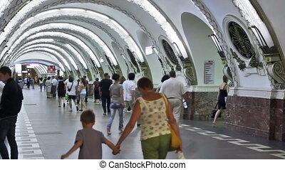 Ploshchad Vosstaniya, commuters at station, St. Petersburg, Russia