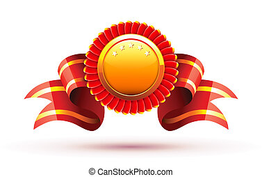 red badge  - Vector illustration of red badge and ribbon