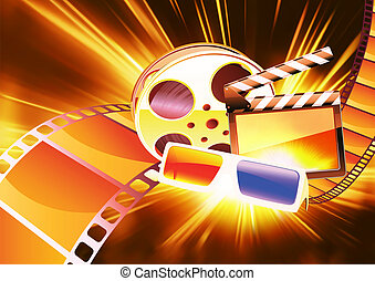 cinema background - vector illustration of orange abstract...
