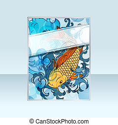 vector banner with japanese style koi  (carp fish)