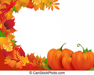 Autumn - Illustration with frame of autumn leaves and...