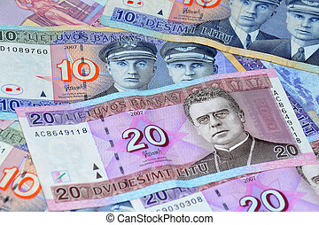 Lithuanian money on a white backgro - Lithuanian different...