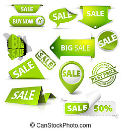 Collection of vector green sale tickets, labels, stamps,...