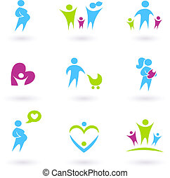 Pregnancy, Family and Parenthood icons isolated on white -...