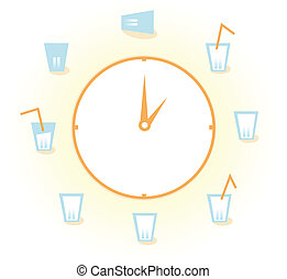 Eight glasses of water per day isolated on white - Drink!...