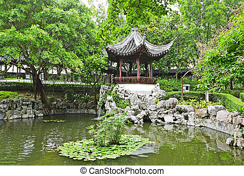 chinese garden with pool and pavilion