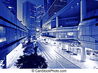 city at night in blue tone
