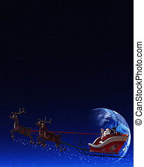 Santa Claus and his Reindeer - Santa Claus is flying in his...