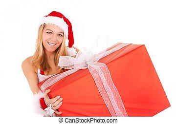 christmas woman holding gift