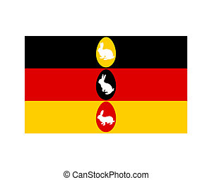 Flag of Germany with easter bunnys and easter eggs