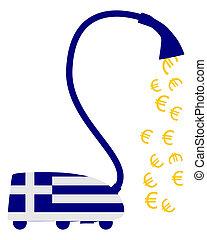 Greek vacuum cleaner with european euros