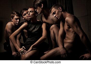 사진, 그룹, 성적 매력이 있는, 사람
