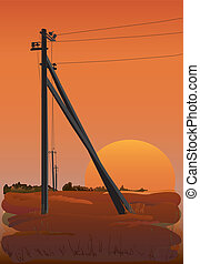 Electric power lines at sunset Vector illustration EPS10