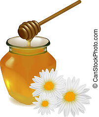 Honey with wood stick and flowers. Vector