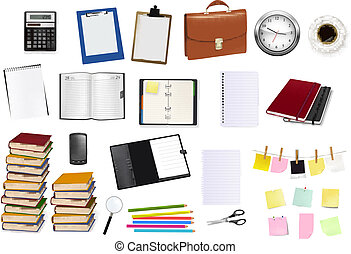 office and business supplies - A briefcase, notebooks and...