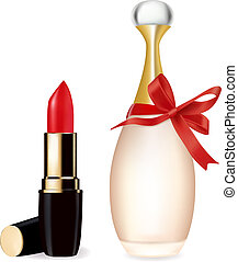 Red lipstick and perfume bottle. Vector