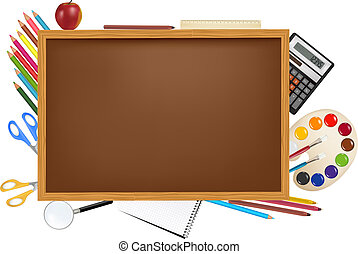 Back to school - Back to school. Brown desk with school...