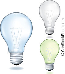 Set of a light bulbs. Realistic vector illustration.