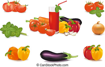 The big colorful group of vegetables and glass of juice....