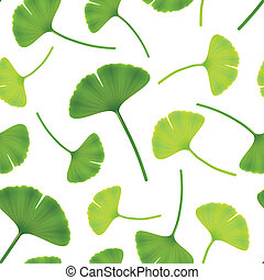 Leaves of ginkgo bilboa. Seamless vector illustration.