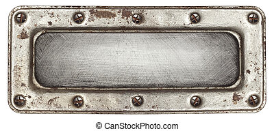 Metal plate texture with screws and frame.