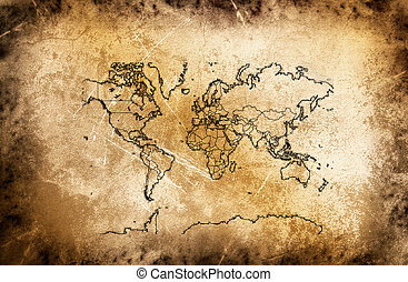 Cracked ancient map of world.