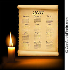 Old paper with calendar 2011.