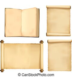 Set of old paper sheets and book Vector