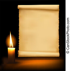 Background with old paper and a candle. Vector illustration....