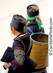 Two hill-tribe girls from Sapa in Vietnam - Two traditional...