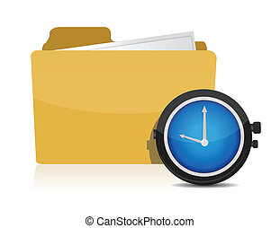 Folder icon with clock over a white