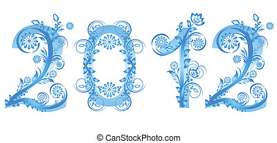vector illustration of the 2012 new year numbers made with floral ornament
