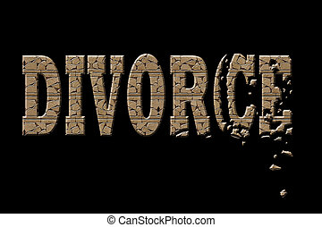 Divorce - Typography illustration of divorce with a...