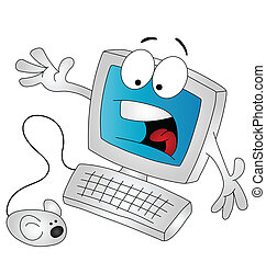 Cartoon computer being scared by the mouse isolated on white...