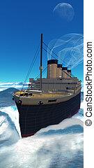 Titanic Cruiseship - The Titanic ship cruises along under...