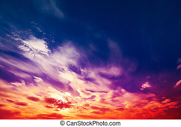 Amazing  wonderful sky. - Beautiful crimson sky with clouds.