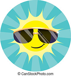 Cool Sun Wearing Sunglasses - Spot illustration of a smiling...