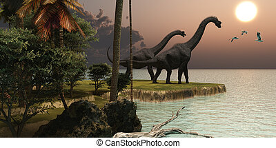 Brachiosaurus Sunset - Two Brachiosaurus dinosaurs enjoy a...