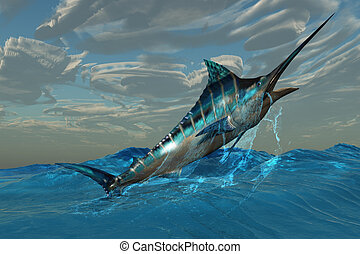 Blue Marlin Jump - An iridescent Blue Marlin bursts from...