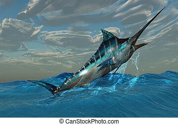 Blue Marlin Jump - An iridescent Blue Marlin bursts from...